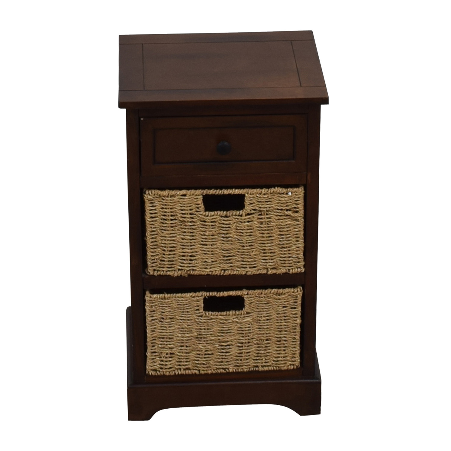 Wood Side Table with Two Wicker Baskets price