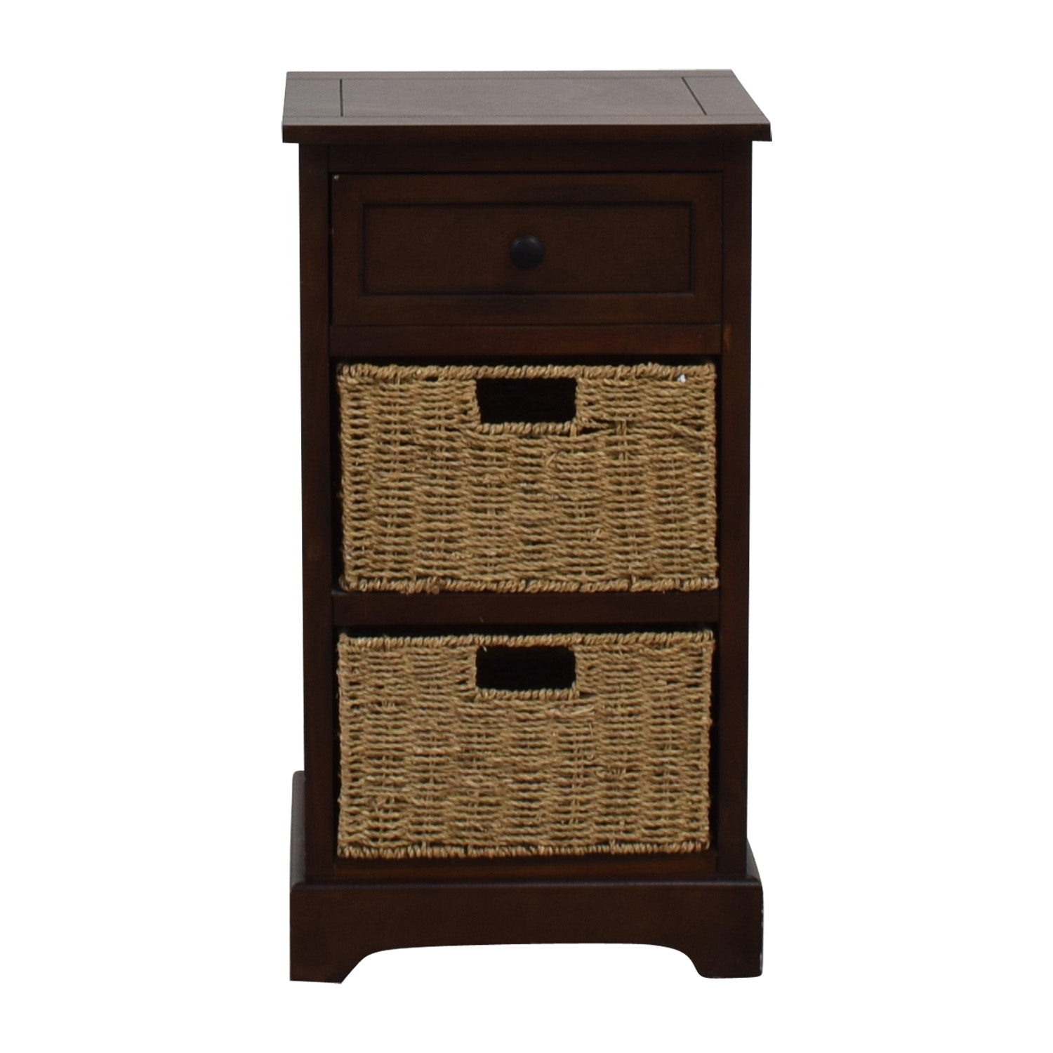 Wood Side Table with Two Wicker Baskets dimensions
