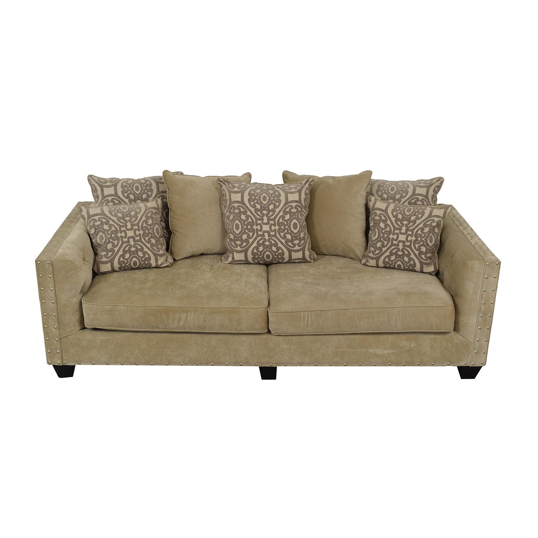 shop Raymour & Flanigan Raymour & Flanigan Cindy Crawford Calista Beige Microfiber Sofa online