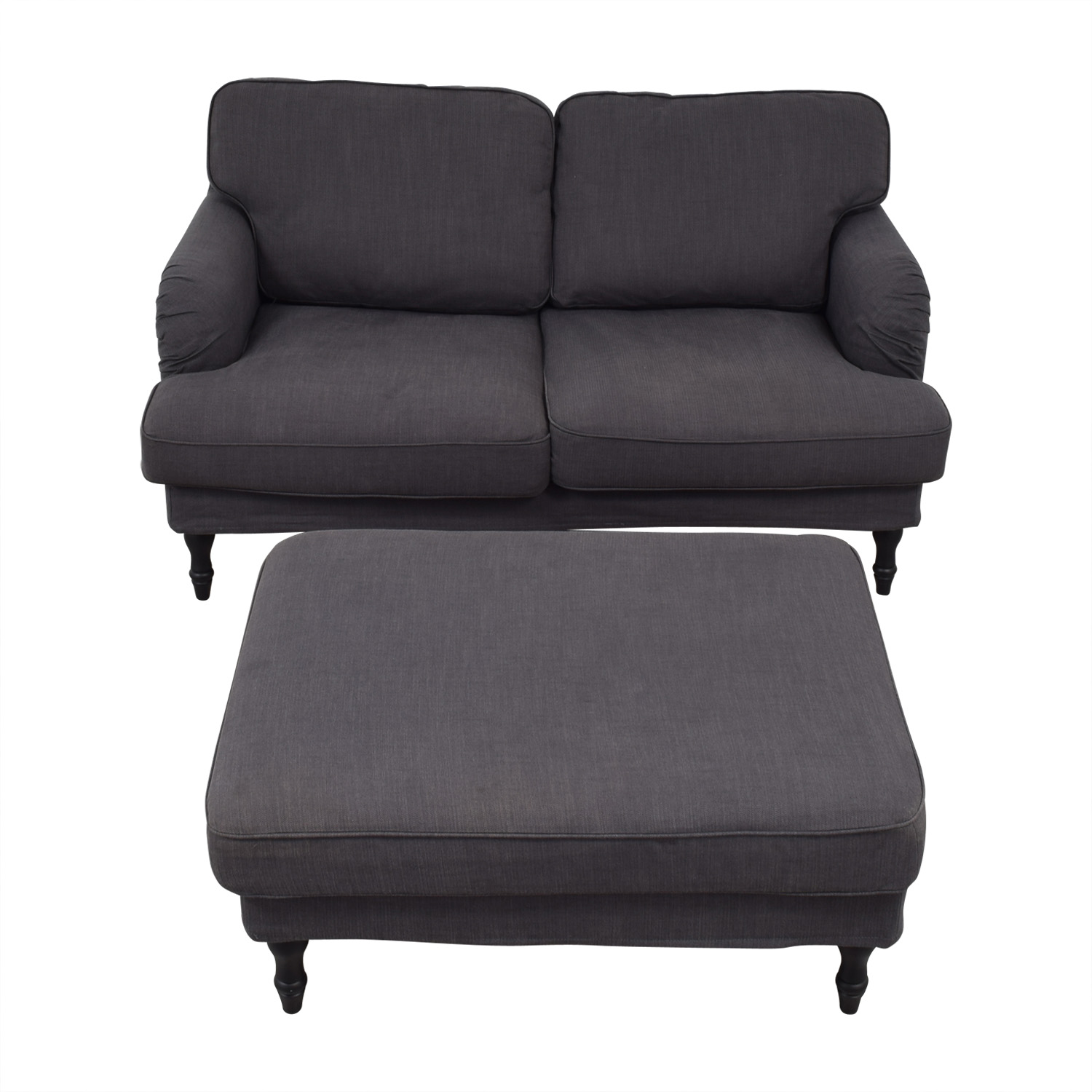 IKEA IKEA Grey Two-Cushion Loveseat and Ottoman on sale