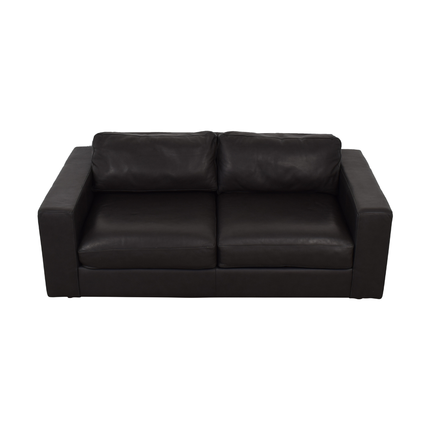 West Elm West Elm Urban Graphite Leather Loveseat for sale