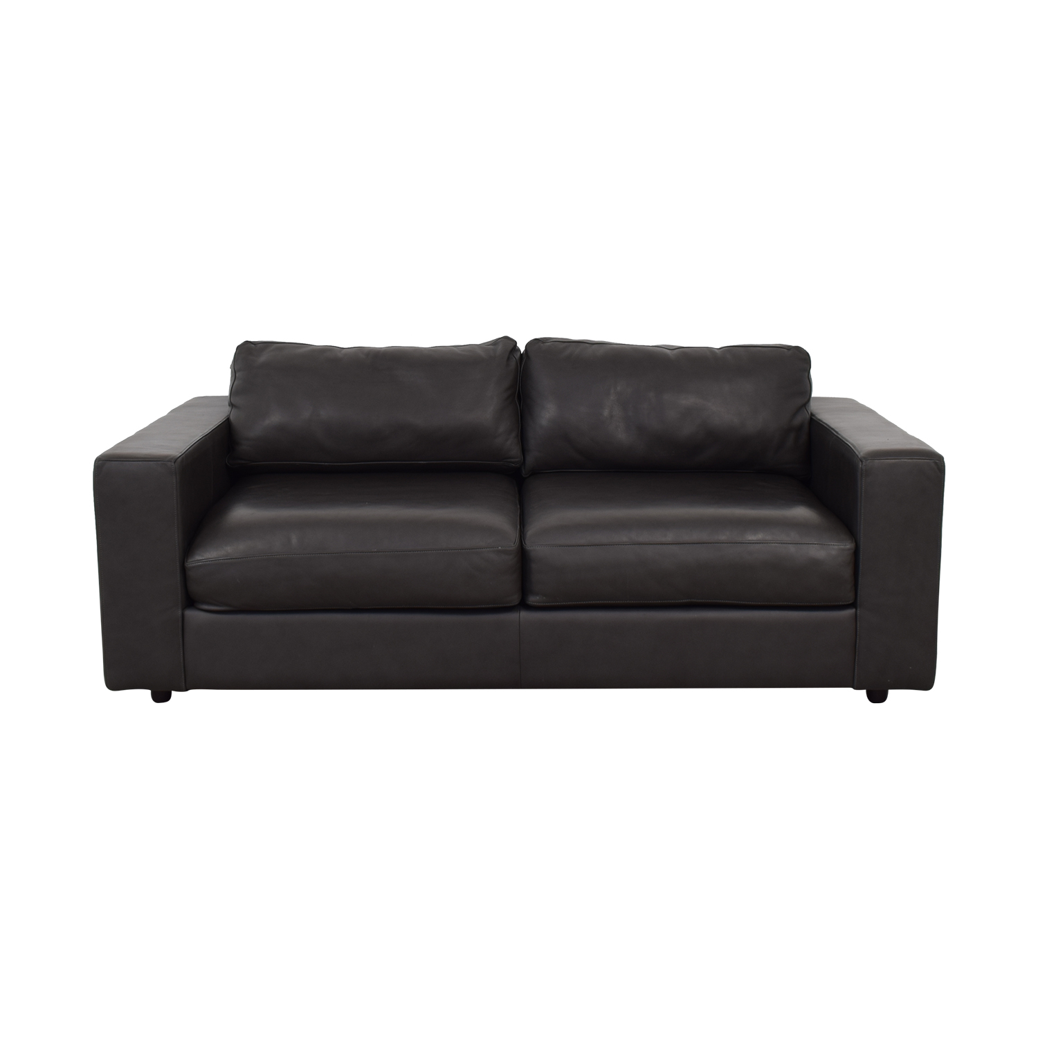 West Elm Urban Graphite Leather Loveseat / Sofas