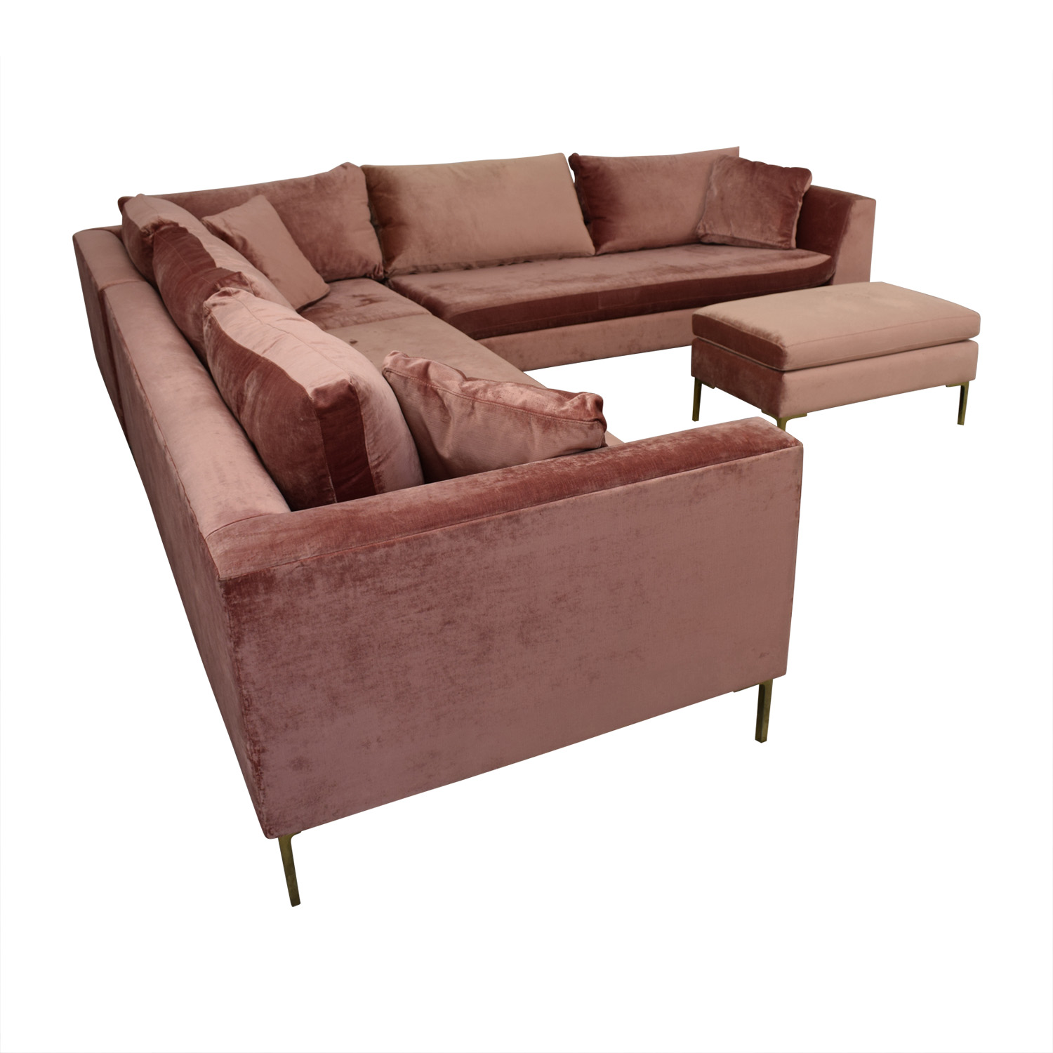 Picture of: 85 Off Anthropologie Anthropologie Edlyn Pink Sectional With Ottoman Sofas