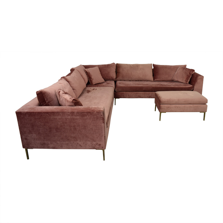 shop Anthropologie Anthropologie Edlyn Pink Sectional with Ottoman online