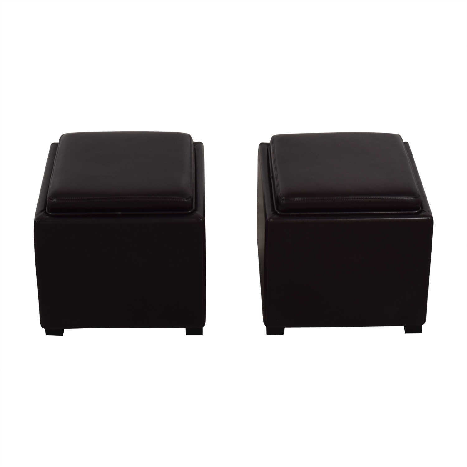 Crate & Barrel Crate & Barrel Brown Leather Storage Ottomans second hand