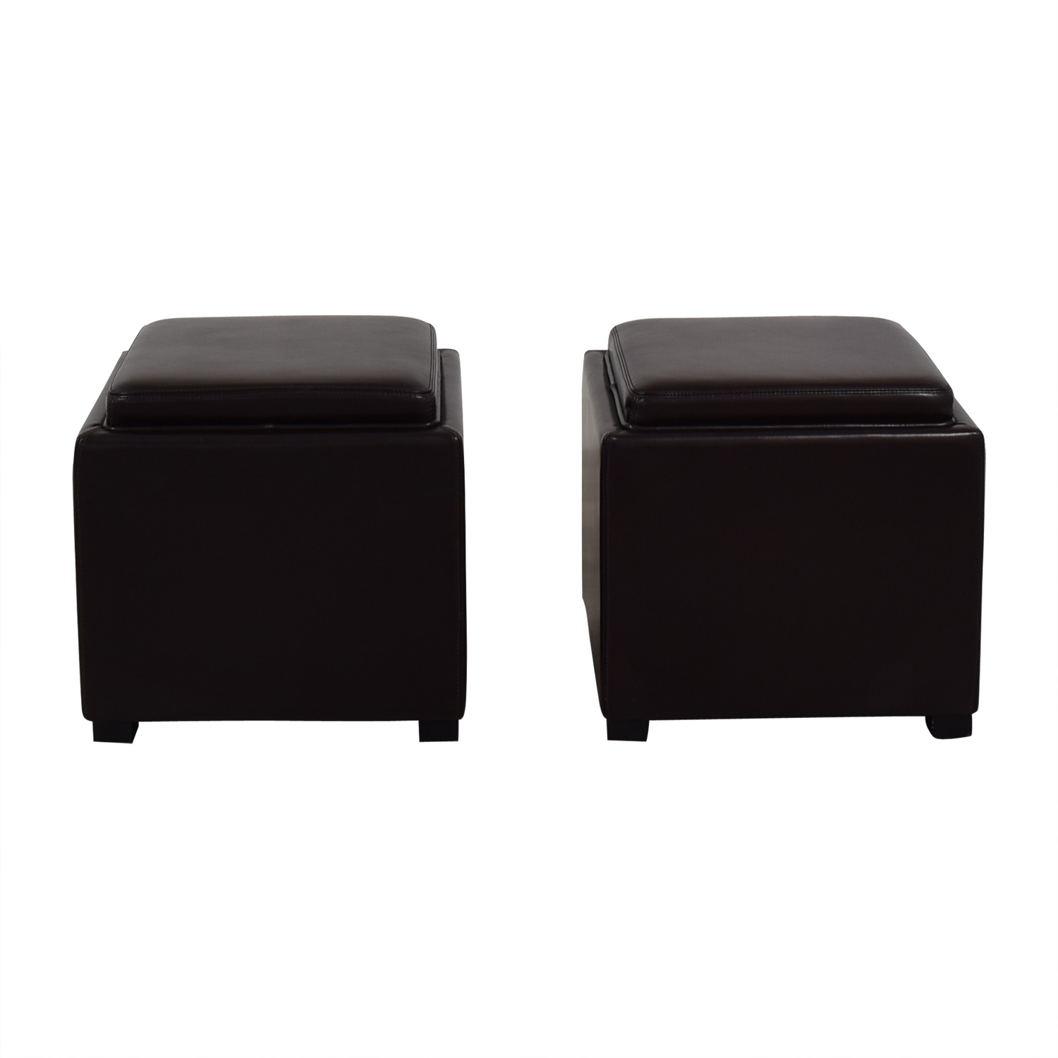 buy Crate & Barrel Brown Leather Storage Ottomans Crate & Barrel