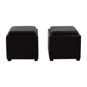 Crate & Barrel Brown Leather Storage Ottomans sale