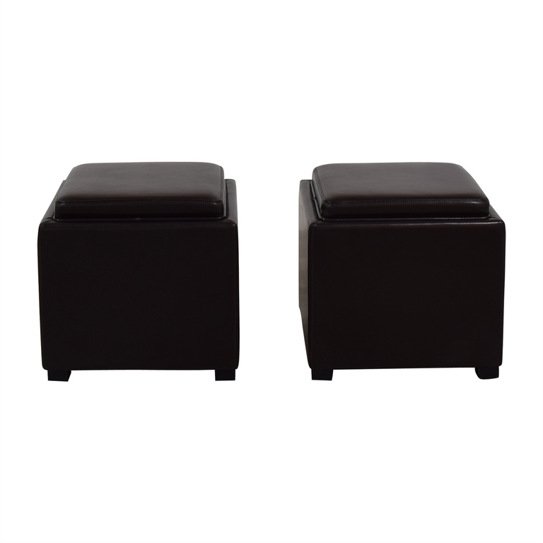Crate & Barrel Crate & Barrel Brown Leather Storage Ottomans on sale