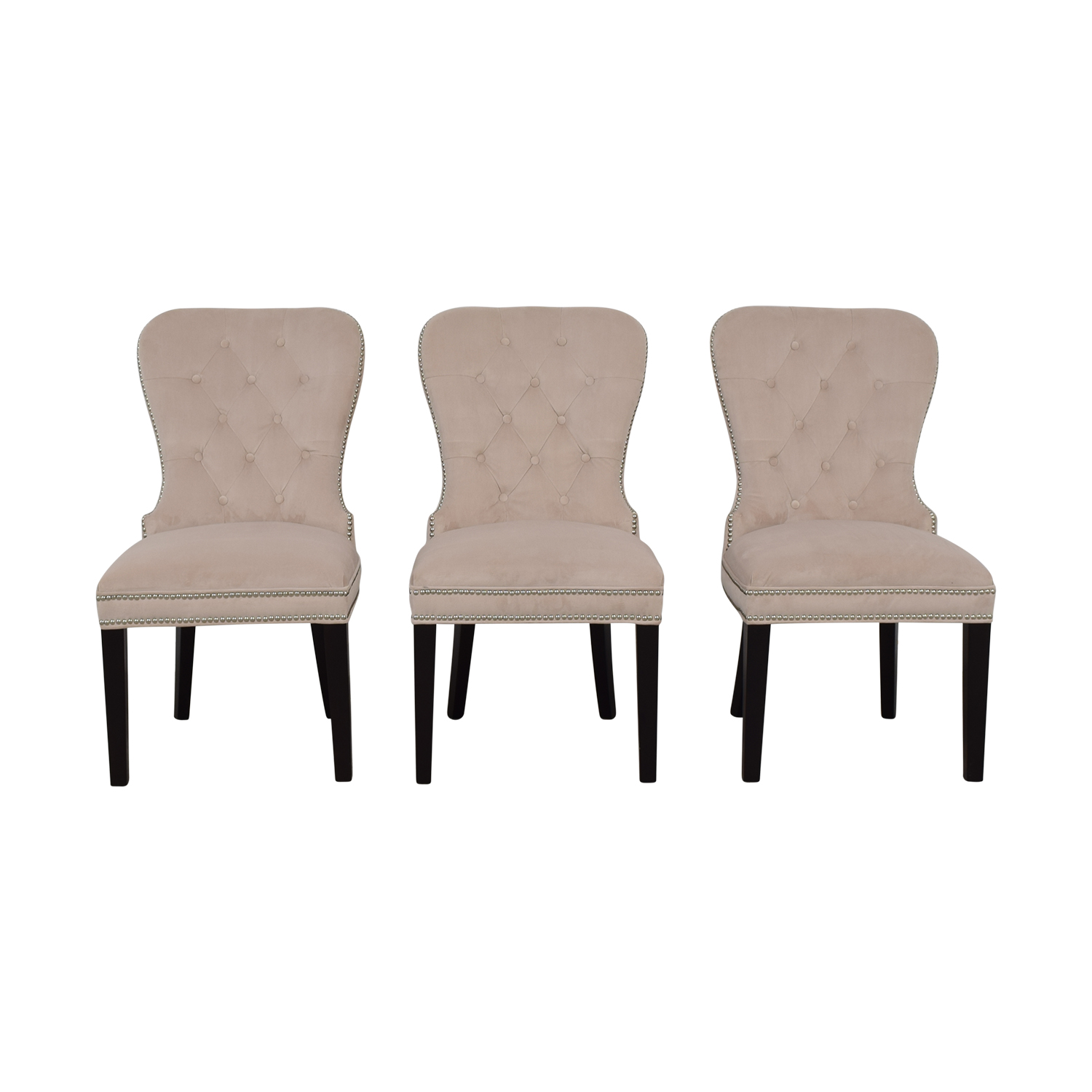 Z Gallerie Charlotte Cream Tufted Nailhead Dining Chairs / Chairs