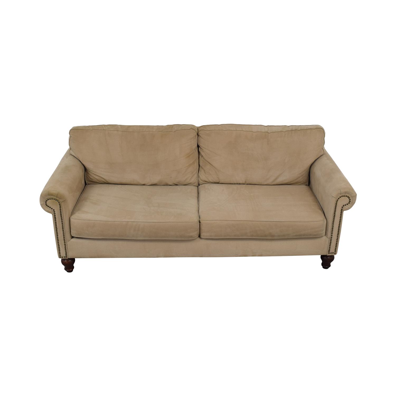 Beige Nailhead Two-Cushion Sofa dimensions