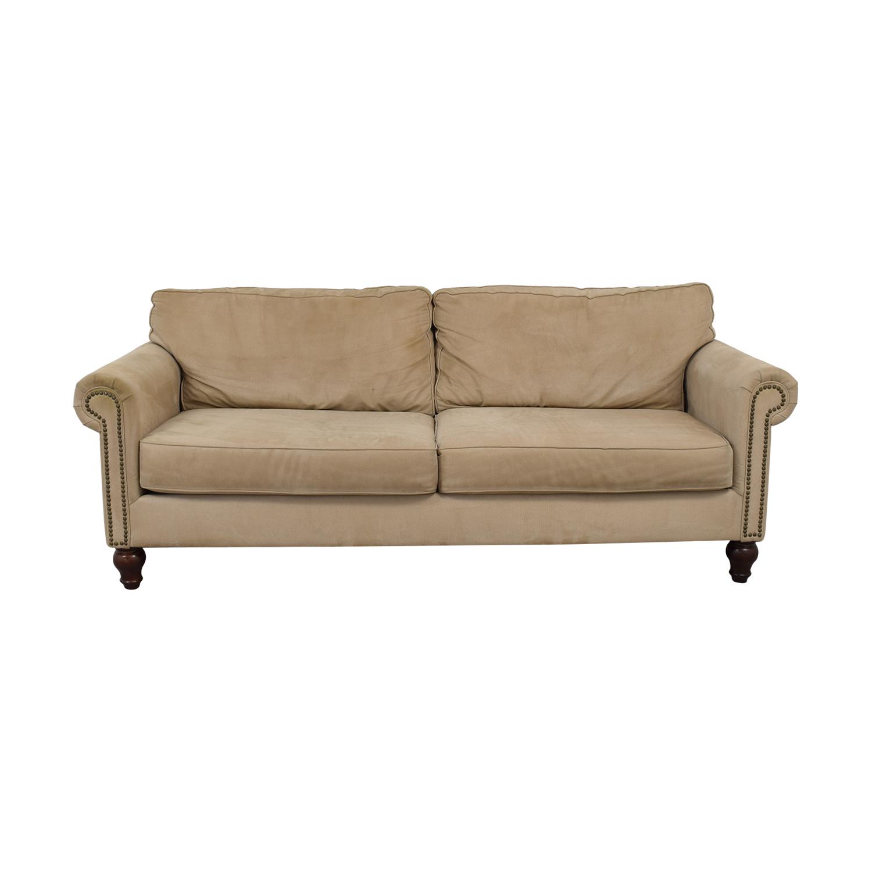 buy Beige Nailhead Two-Cushion Sofa
