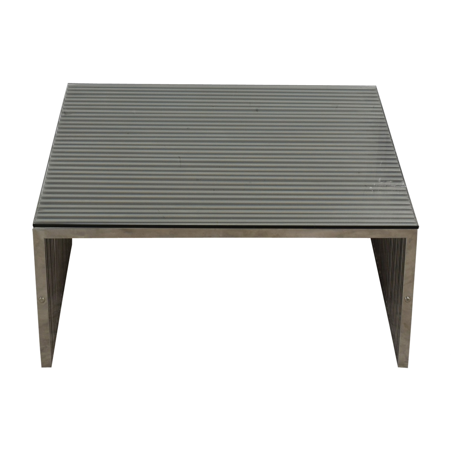 buy Gridiron Coffee Table in Stainless Steel with Glass Top Modway Coffee Tables