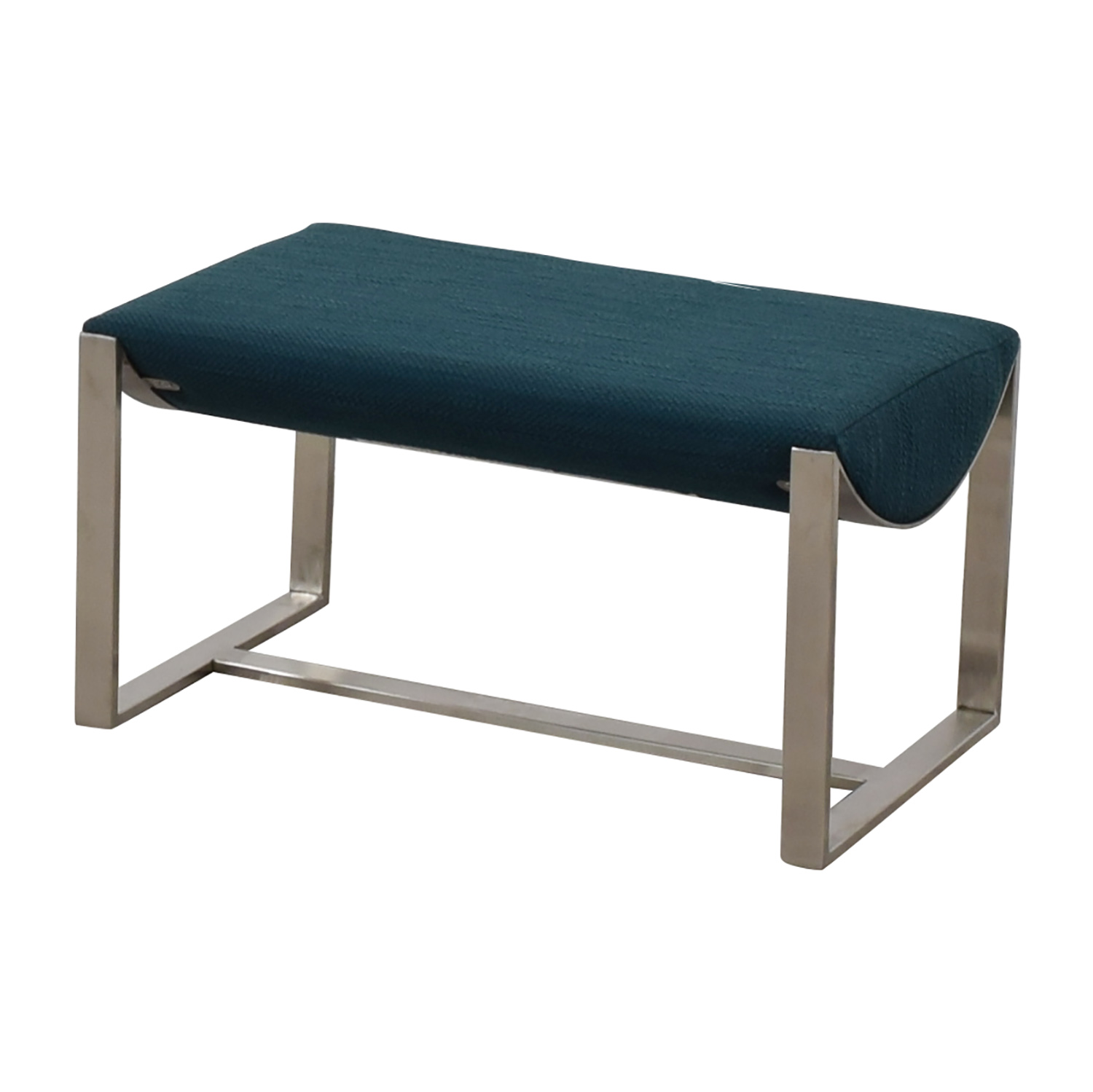 shop West Elm West Elm Bower Teal and Chrome Ottoman online