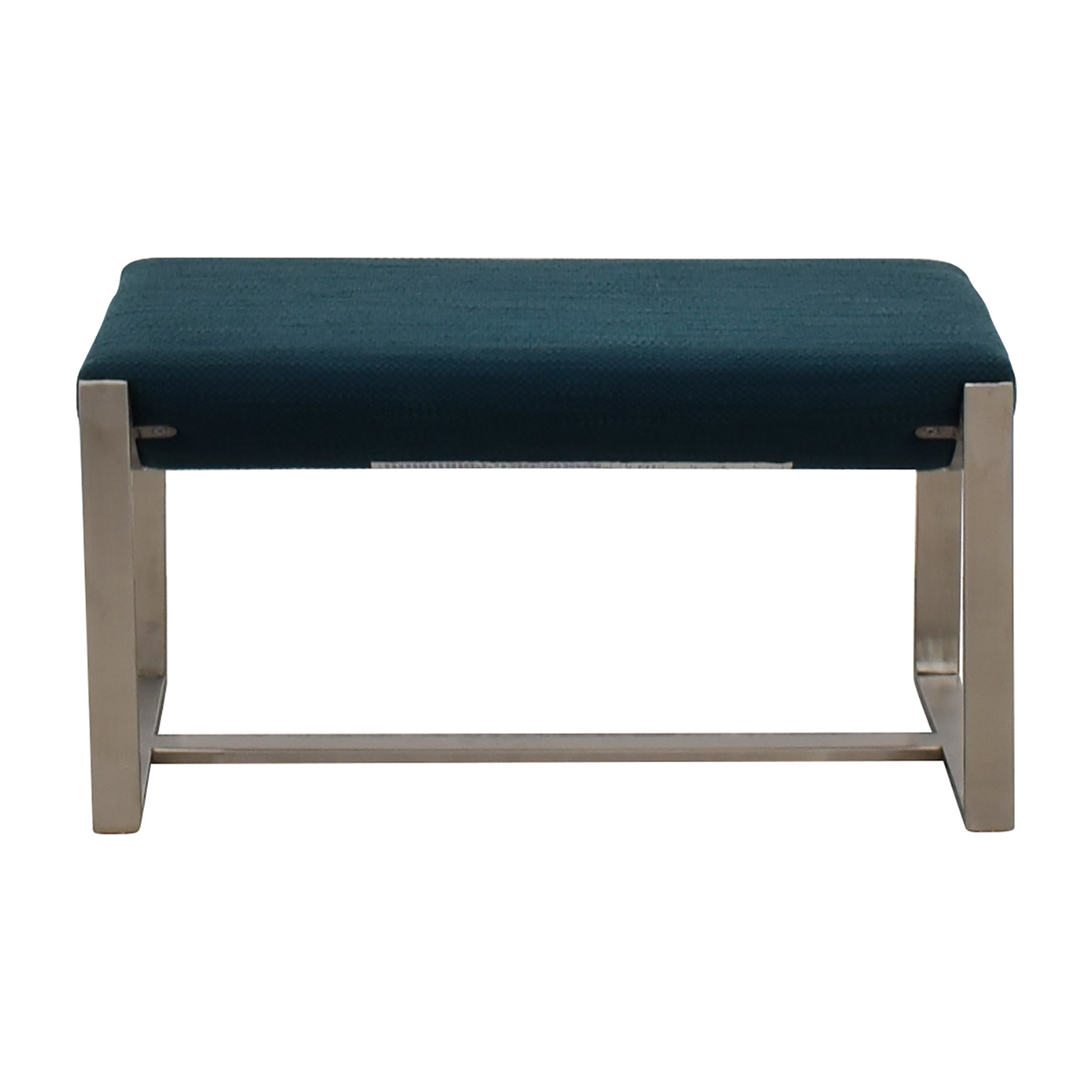 West Elm West Elm Bower Teal and Chrome Ottoman on sale