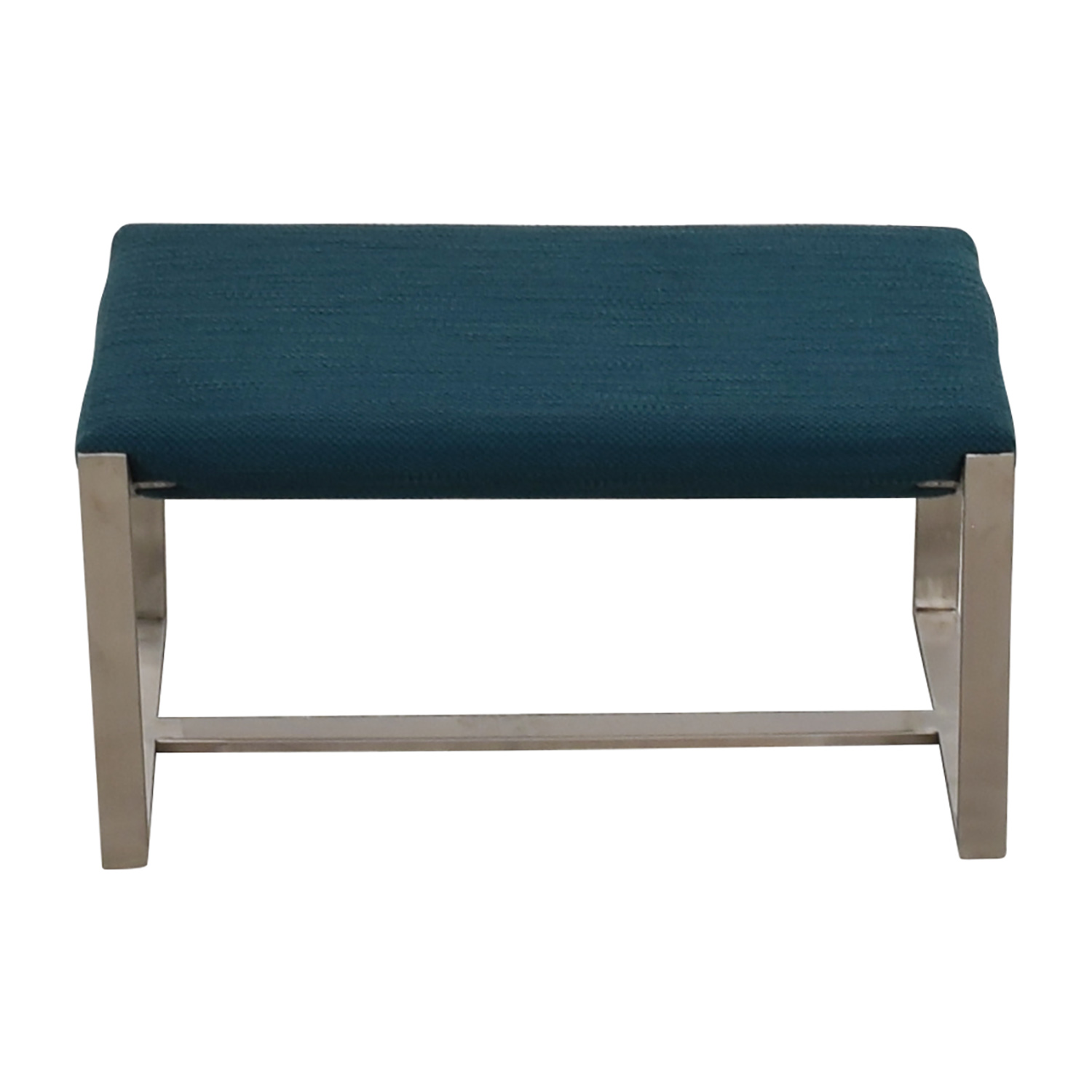 West Elm West Elm Bower Teal and Chrome Ottoman for sale