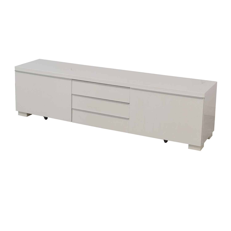 White Five-Drawer Entertainment Unit Storage