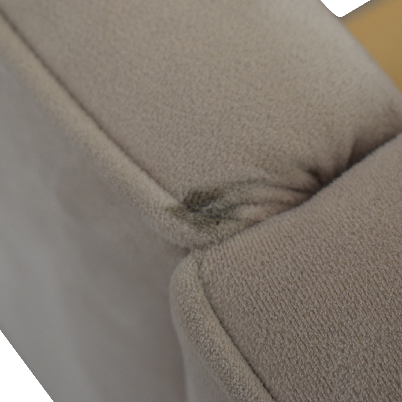 Macy's Macy's Beige Microfiber Nailhead King Bed Frame