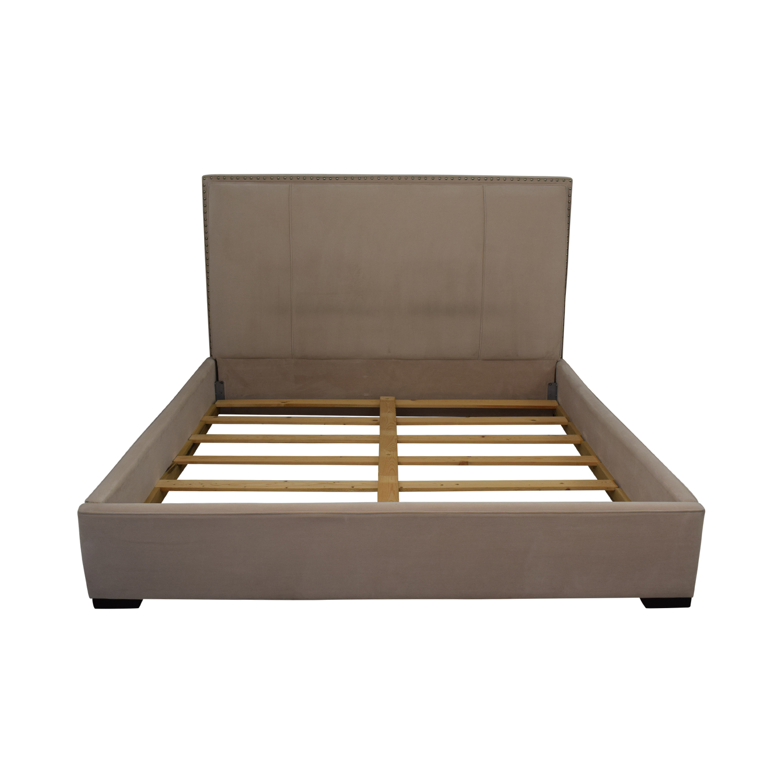 Macy's Beige Microfiber Nailhead King Bed Frame Macy's