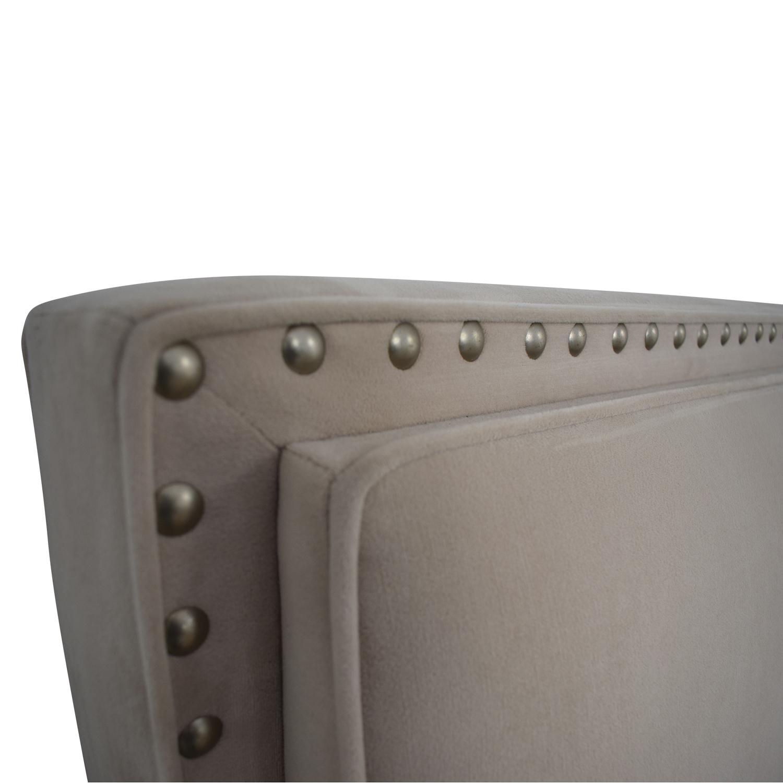 Macy's Macy's Beige Microfiber Nailhead King Bed Frame dimensions