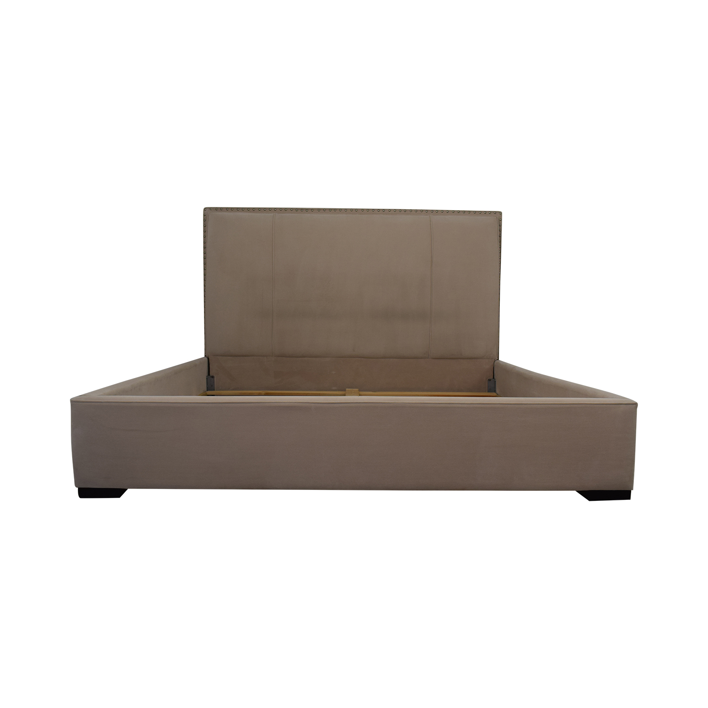 Macy's Macy's Beige Microfiber Nailhead King Bed Frame Beds