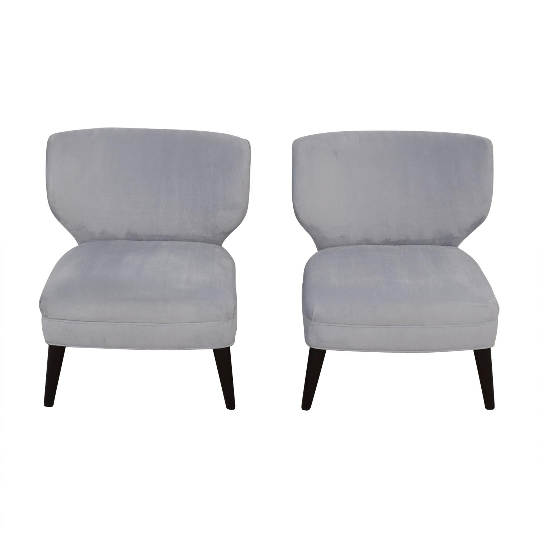 88 Off Ethan Allen Ethan Allen Blue Gray Velvet Accent Chairs Chairs
