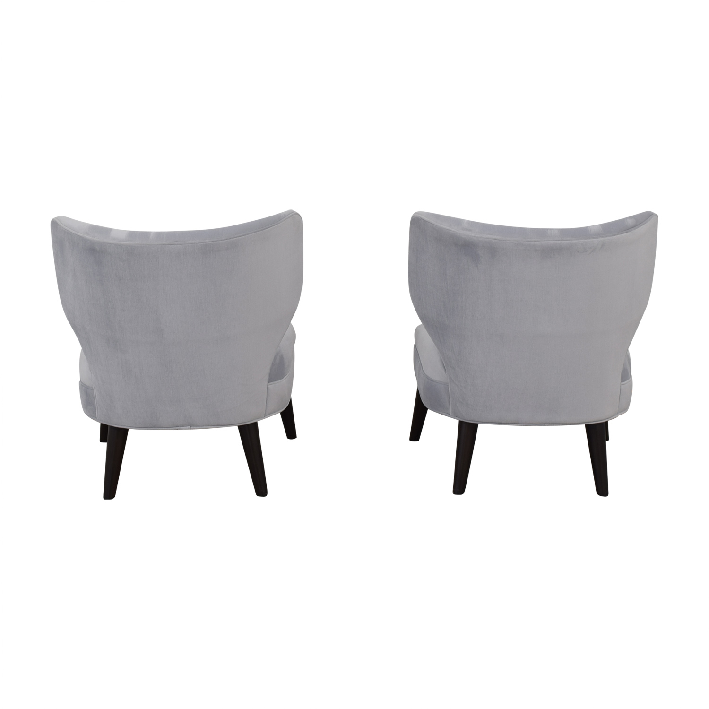 shop Ethan Allen Blue Gray Velvet Accent Chairs Ethan Allen