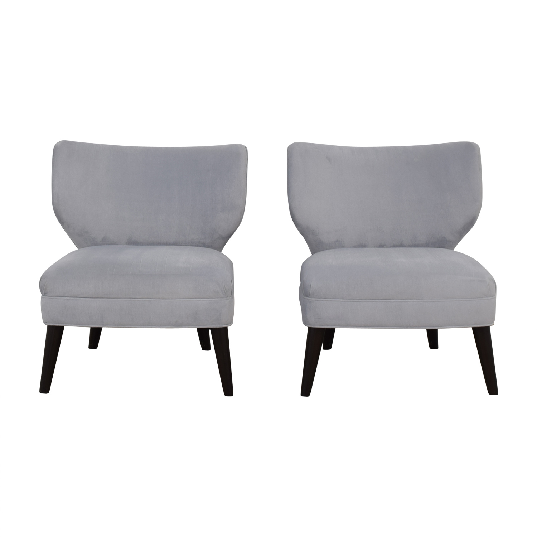 buy Ethan Allen Blue Gray Velvet Accent Chairs Ethan Allen