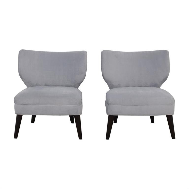 Ethan Allen Ethan Allen Blue Gray Velvet Accent Chairs