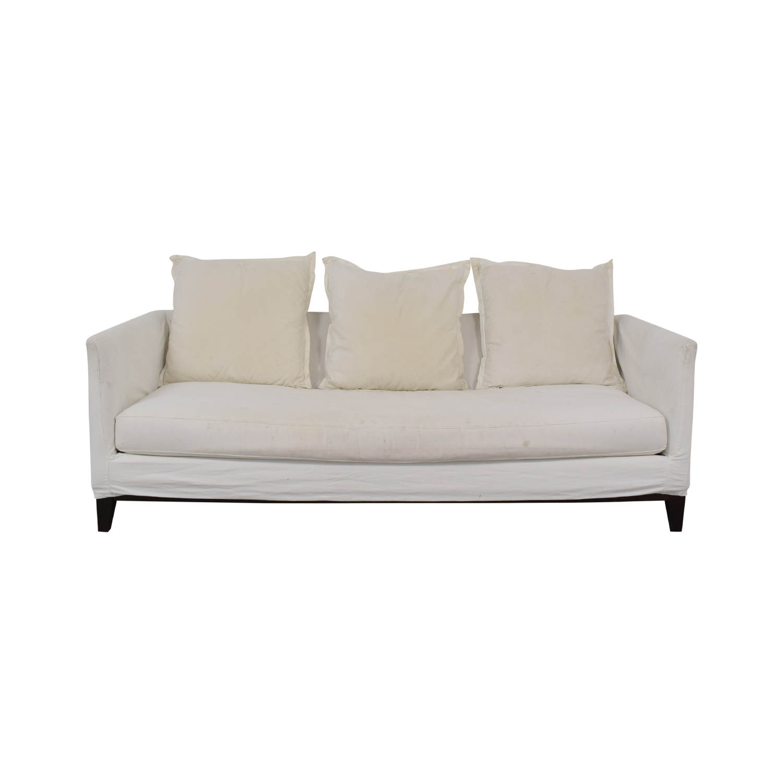 ABC Carpet & Home White Single Cushion Sofa / Sofas
