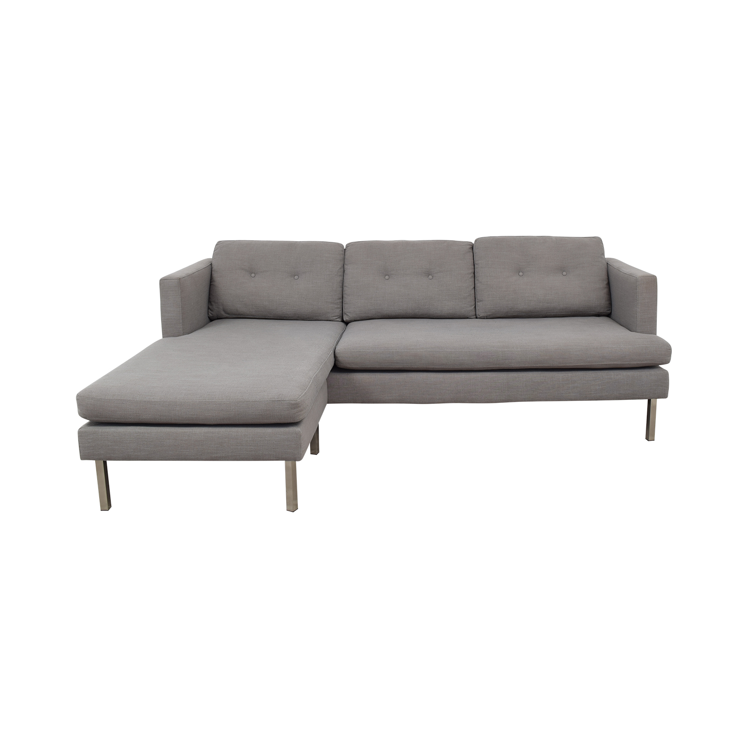 61% OFF - West Elm West Elm Jackson Grey Chaise Sectional / Sofas