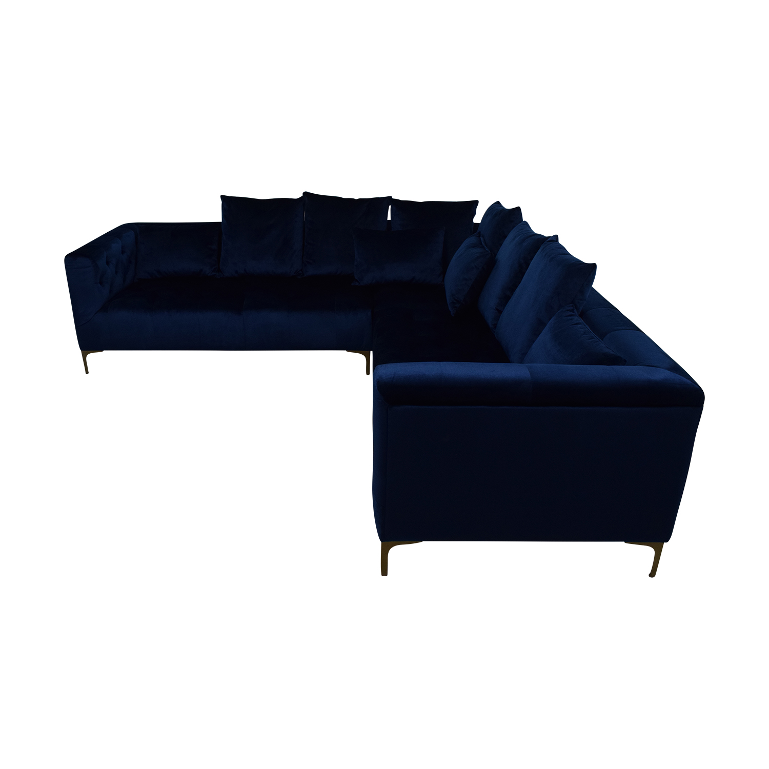 shop Ms. Chesterfield Royal Blue L-Shaped Tufted Sectional