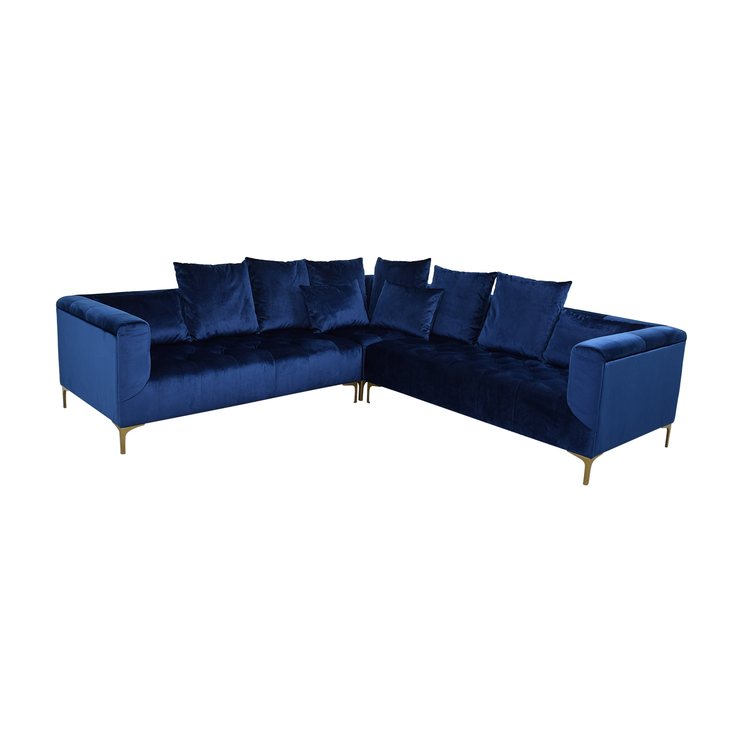 Ms. Chesterfield Royal Blue L-Shaped Tufted Sectional sale