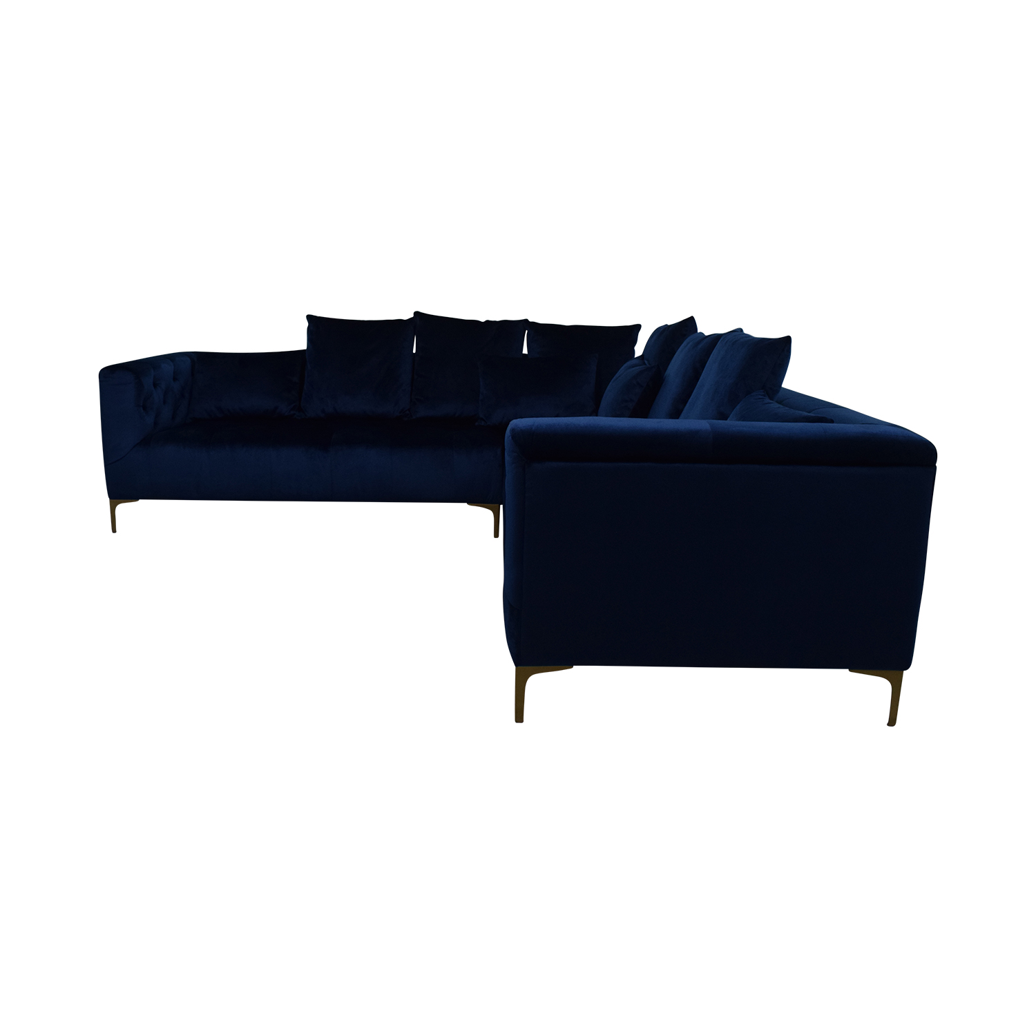 Ms. Chesterfield Royal Blue L-Shaped Tufted Sectional discount