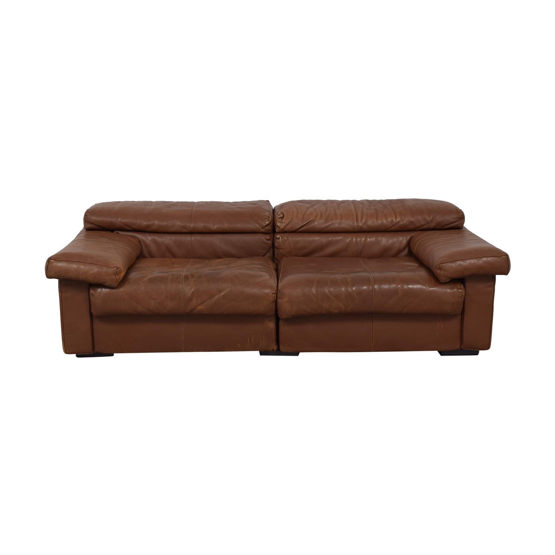 shop B+B Italia Erasmo Brown Modular Two-Cushion Sofa B&B Italia