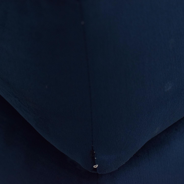 shop Custom Velvet Navy Chaise Sectional  Sofas