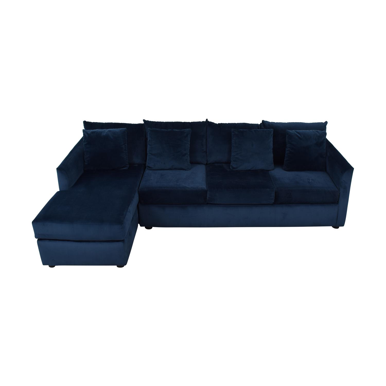 buy Custom Velvet Navy Chaise Sectional  Sofas