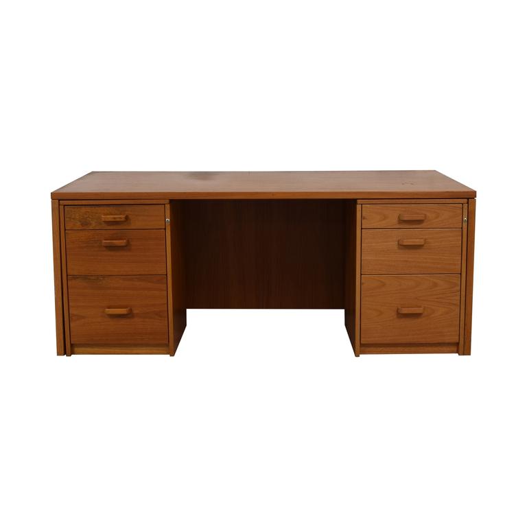Six Drawer Teak Desk second hand