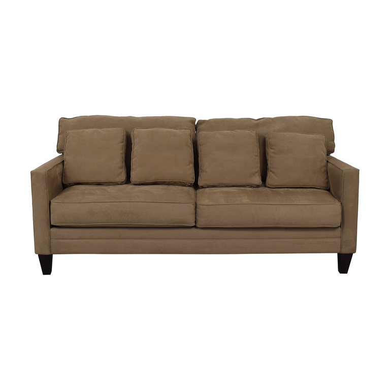 shop Bauhaus Beige Microfiber Two-Cushion Couch Bauhaus