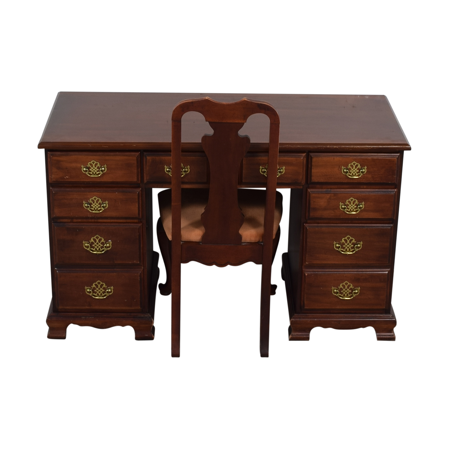 Riverside Furniture Riverside Furniture Ten-Drawer Desk With Chair on sale