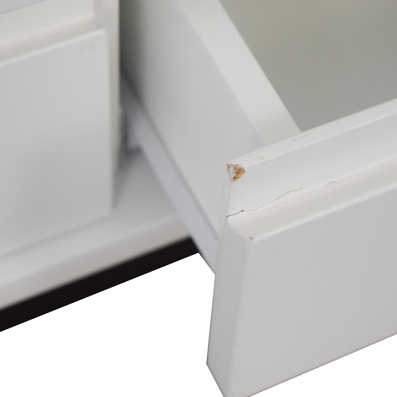 Land of Nod Land of Nod White Two-Drawer Storage Bench used