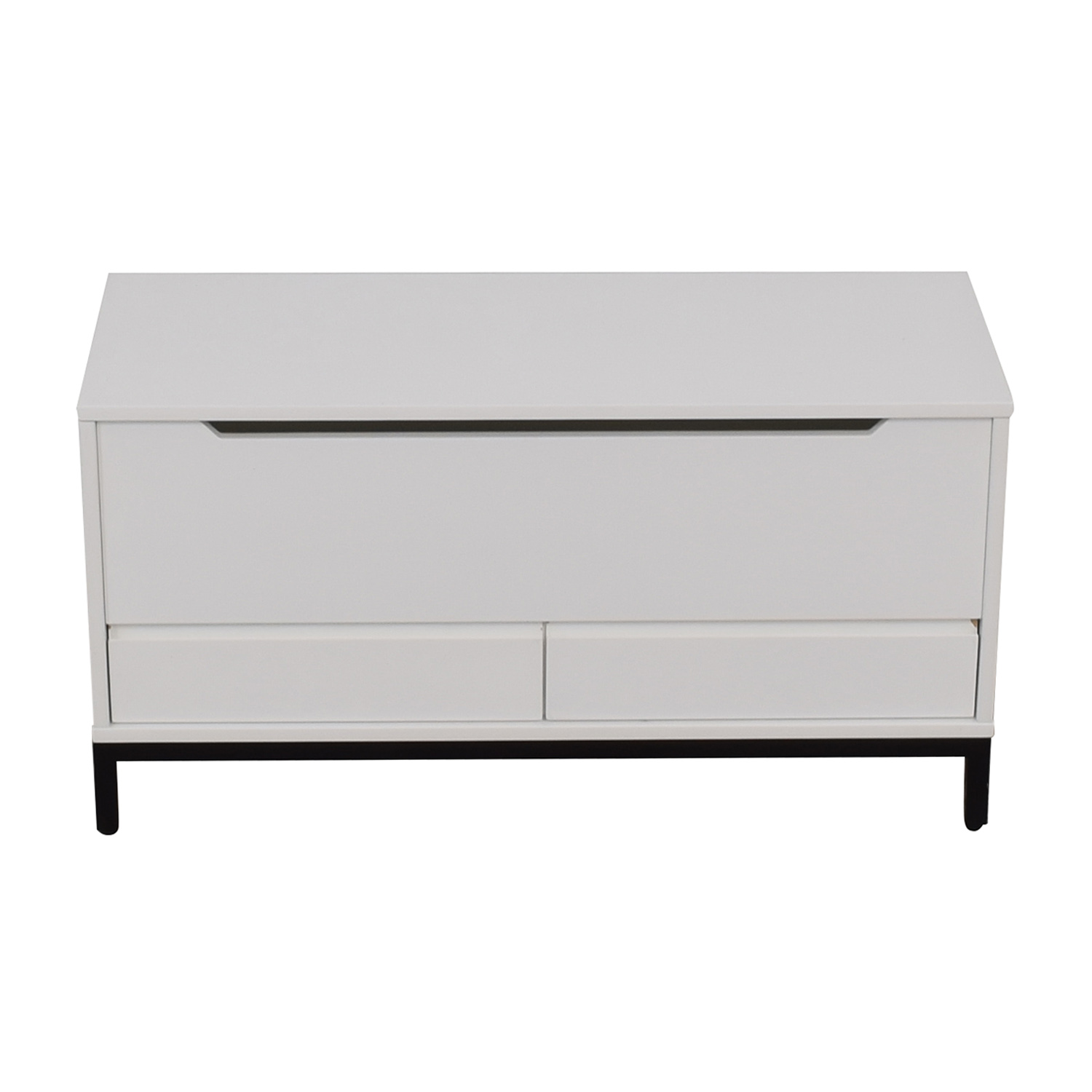 shop Land of Nod White Two-Drawer Storage Bench Land of Nod
