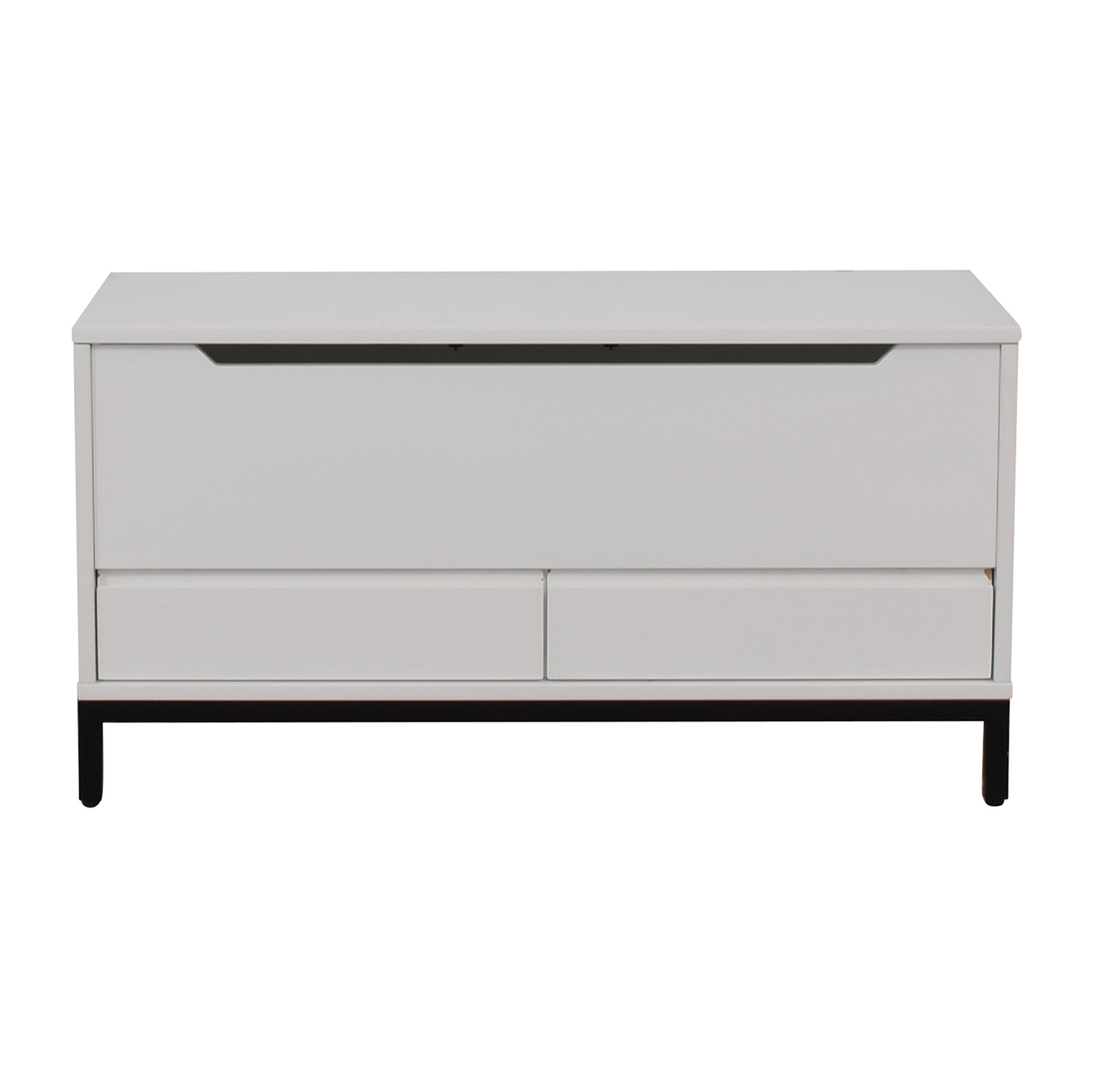 Land of Nod Land of Nod White Two-Drawer Storage Bench second hand