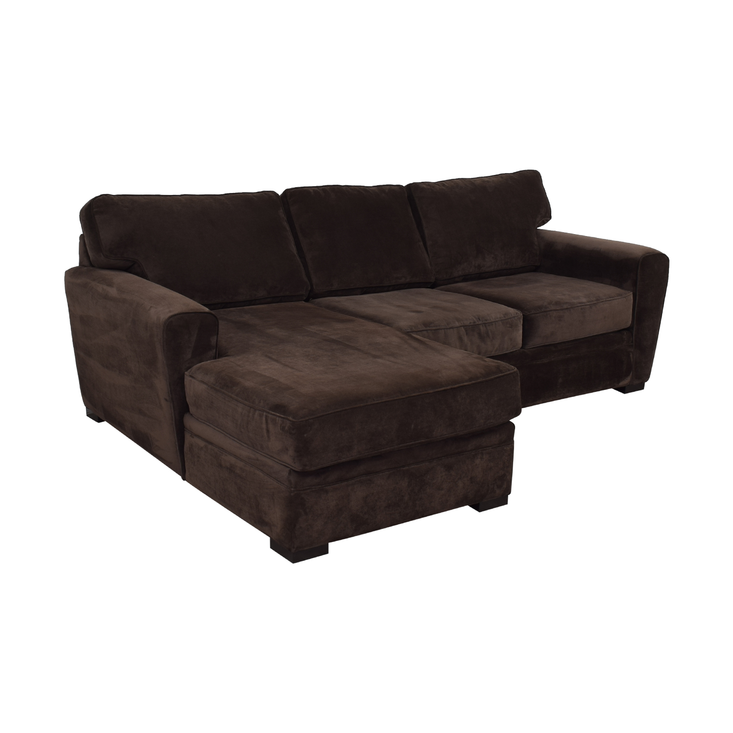 Raymour & Flanigan Artemis II Brown Microfiber Chaise Sectional / Sofas