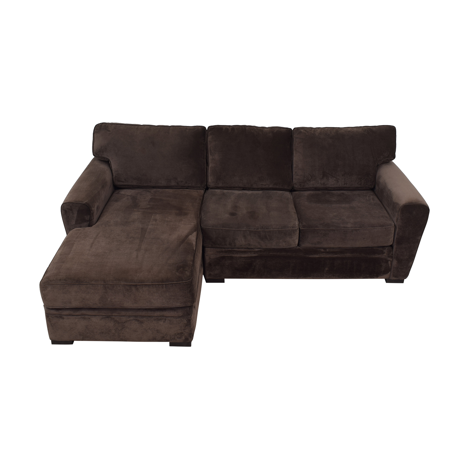 Raymour & Flanigan Artemis II Brown Microfiber Chaise Sectional / Sectionals