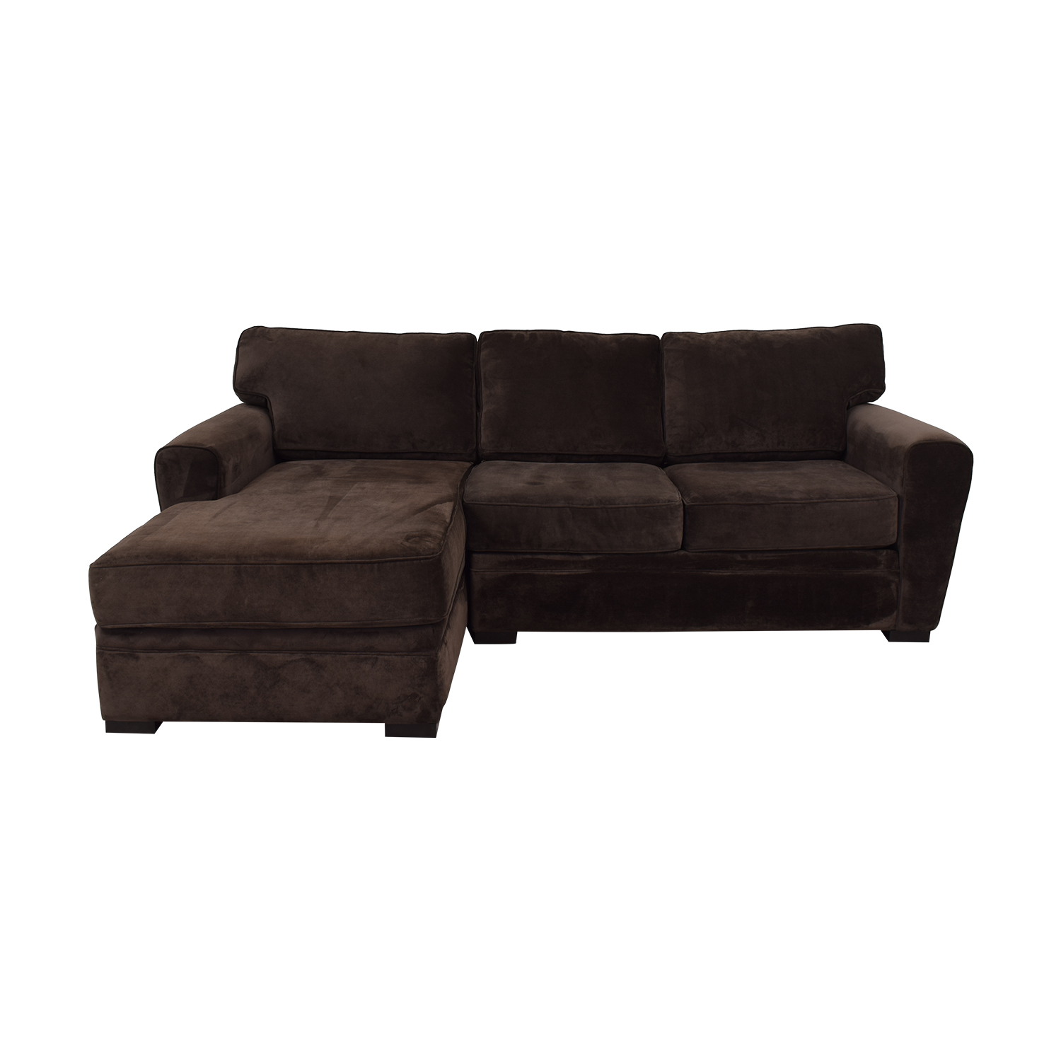 shop Raymour & Flanigan Artemis II Brown Microfiber Chaise Sectional Raymour & Flanigan Sofas