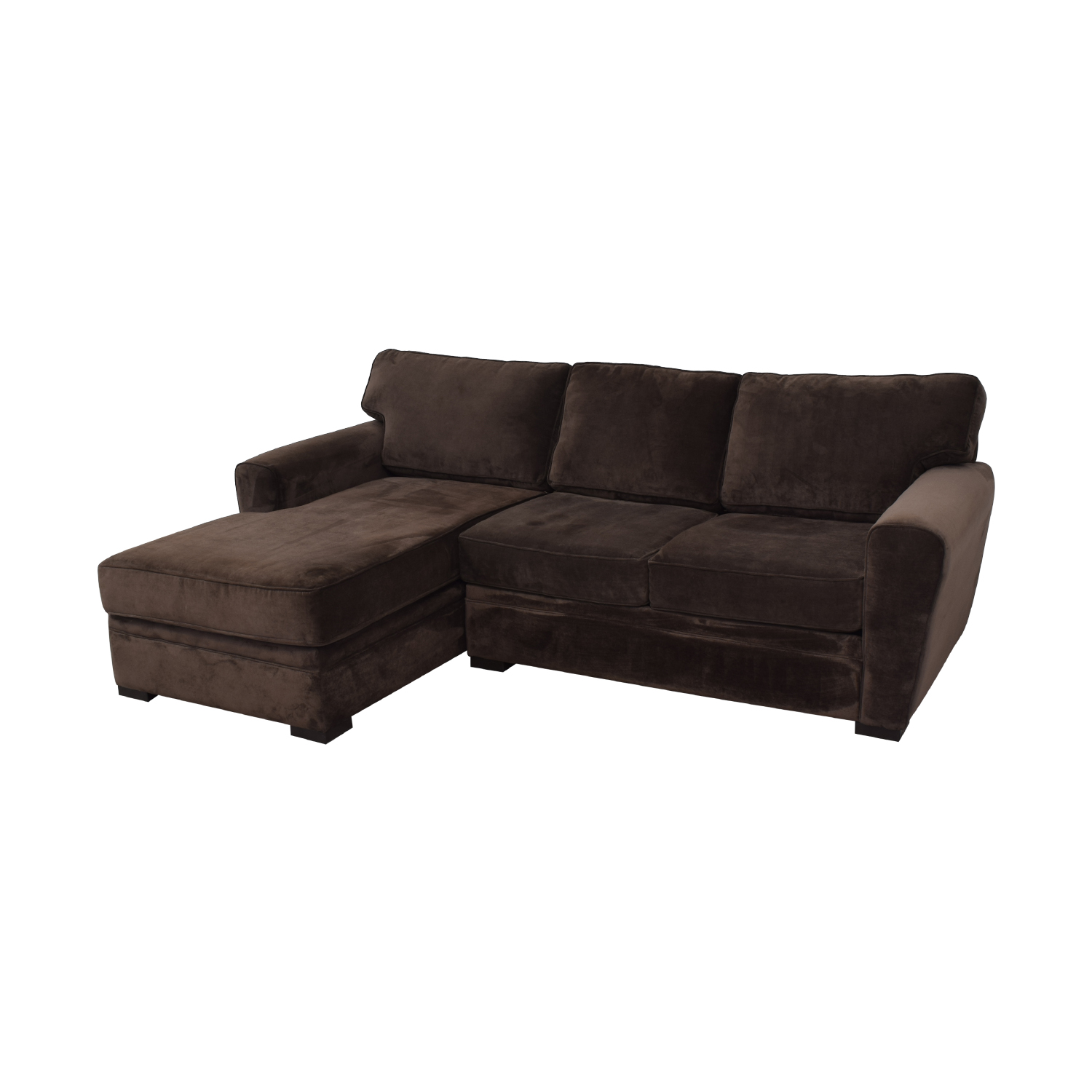 buy Raymour & Flanigan Artemis II Brown Microfiber Chaise Sectional Raymour & Flanigan Sofas