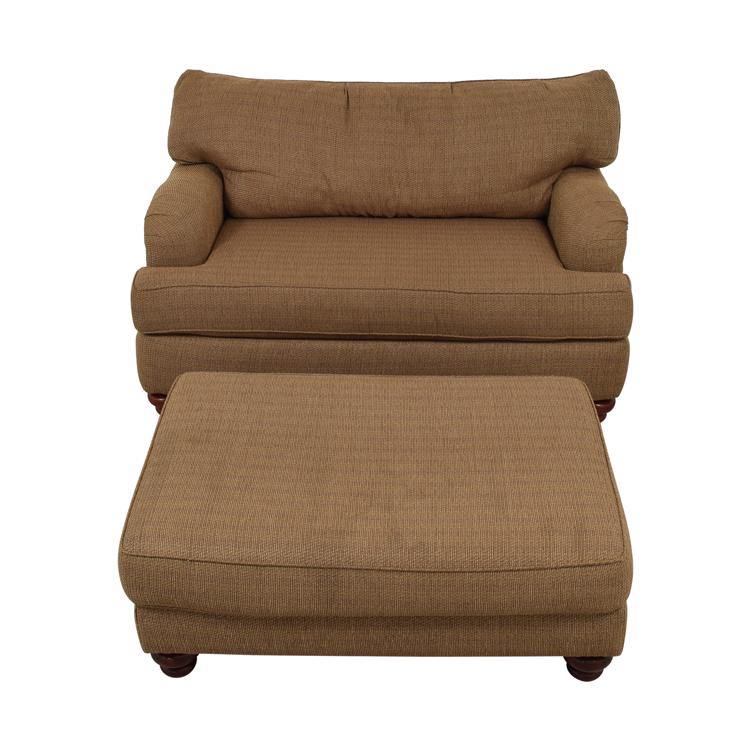 shop Klaussner Home Furnishings Brown Single Cushion Couch and Ottoman Klaussner Home Furnishings Accent Chairs