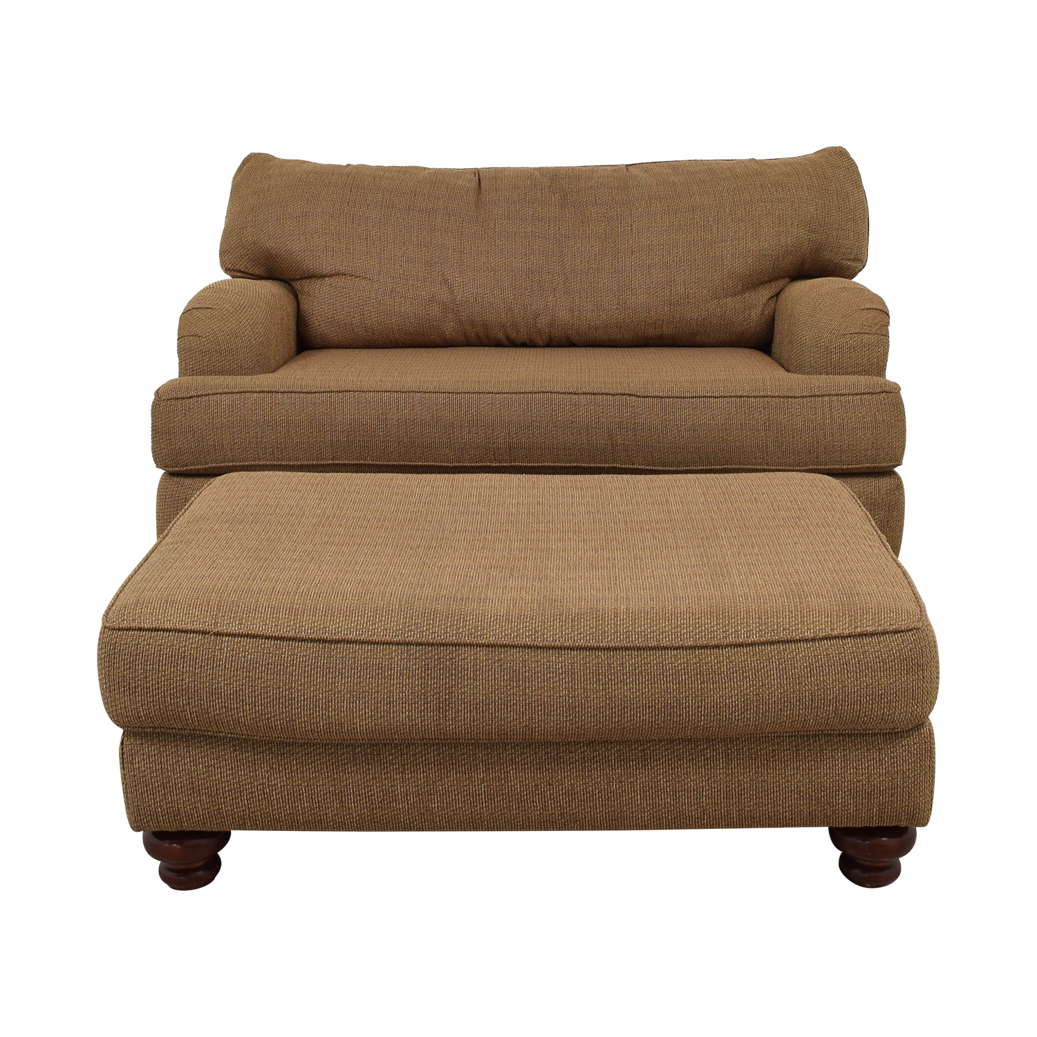Klaussner Home Furnishings Klaussner Home Furnishings Brown Single Cushion Couch and Ottoman coupon
