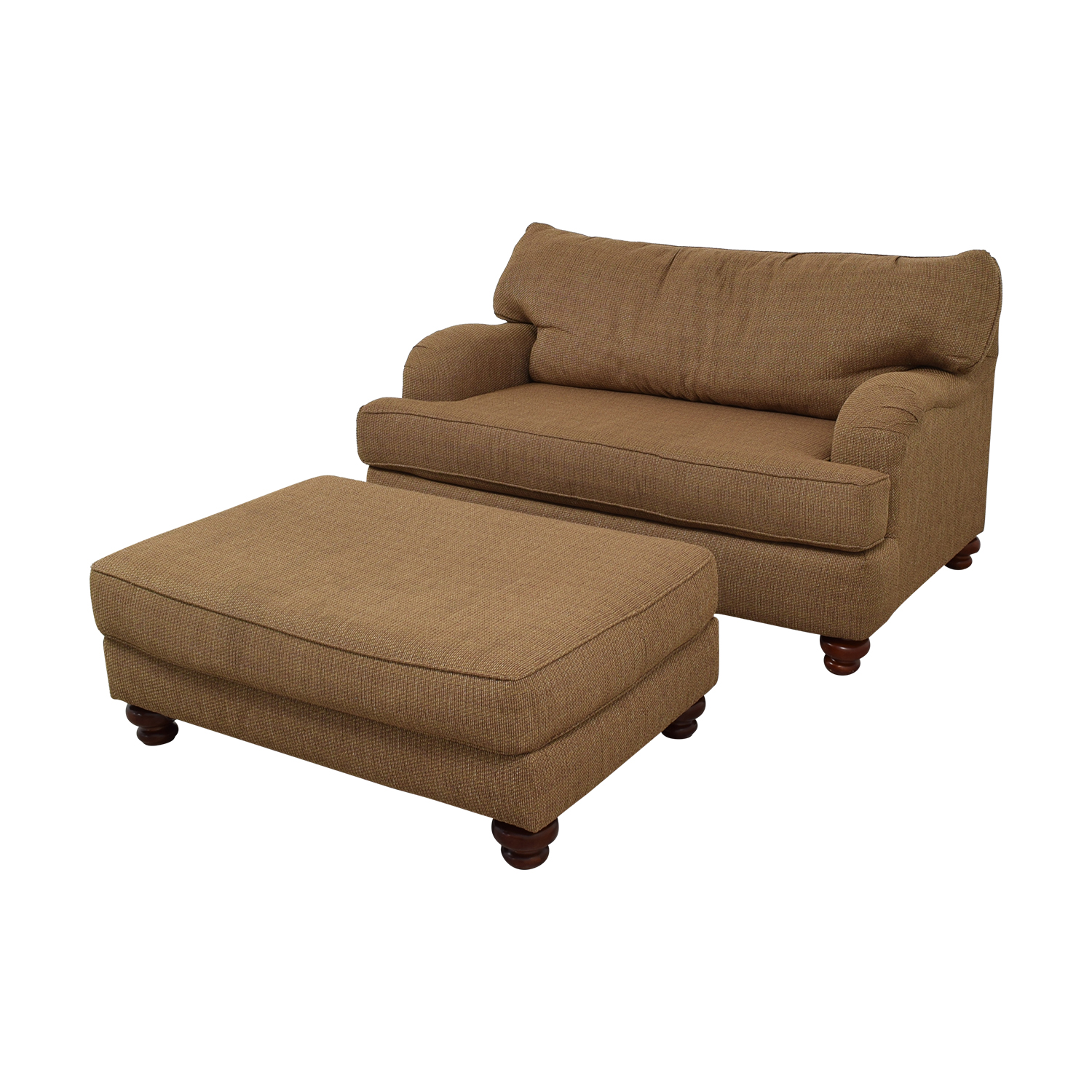 Klaussner Home Furnishings Brown Single Cushion Couch and Ottoman / Accent Chairs