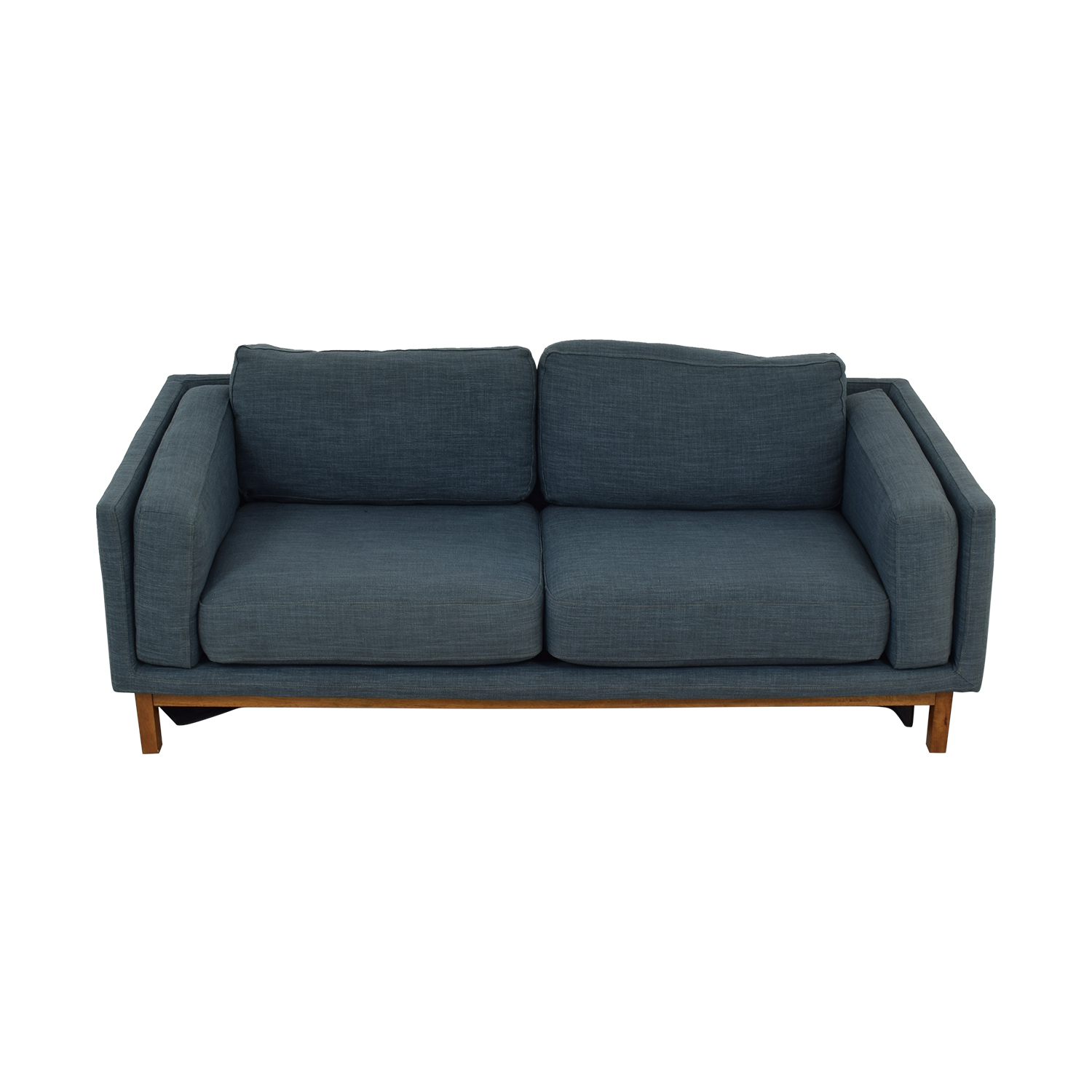 shop West Elm Dekalb Blue Two Cushion Sofa West Elm Sofas